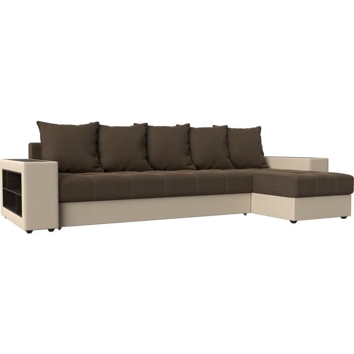 Угловой диван АртМебель Дубай рогожка коричневый эко кожа бежевый правый угол