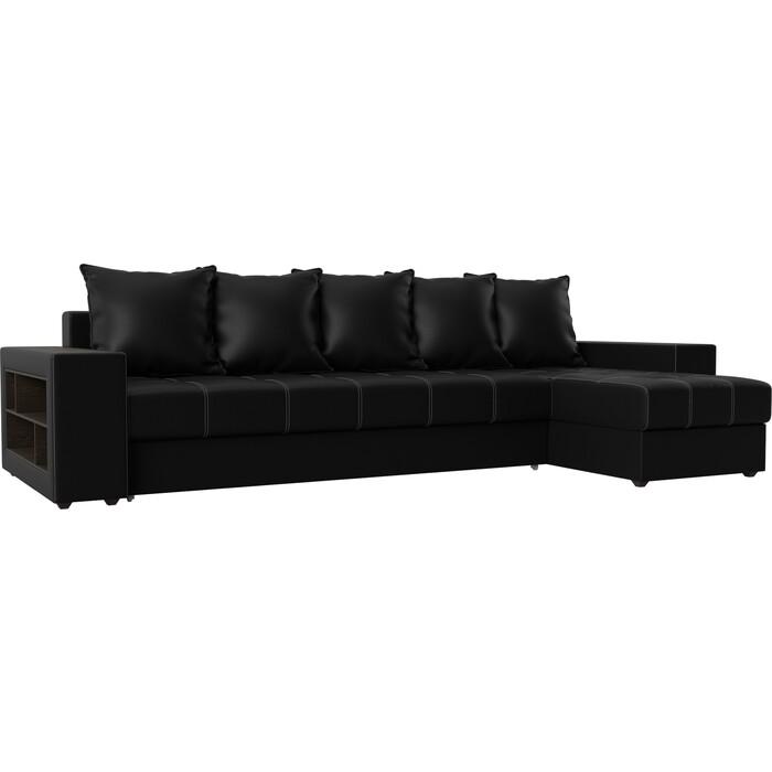 Угловой диван АртМебель Дубай эко-кожа черный правый угол угловой диван артмебель дубай эко кожа черный правый угол