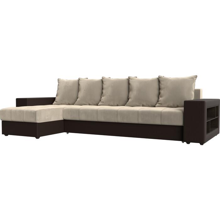 цена Угловой диван Мебелико Дубай микровельвет бежевый эко кожа коричневый левый угол онлайн в 2017 году