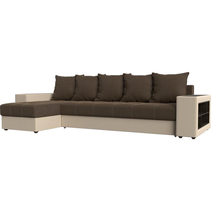 цена Угловой диван Мебелико Дубай рогожка коричневый эко кожа бежевый левый угол онлайн в 2017 году