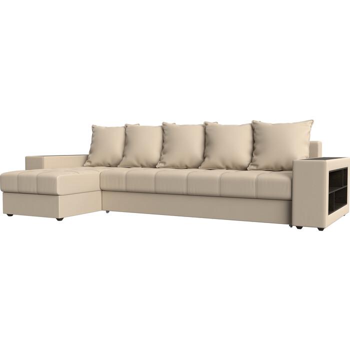 цена Угловой диван Мебелико Дубай эко-кожа бежевый левый угол онлайн в 2017 году