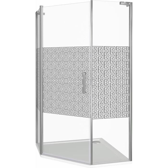 Душевой уголок Good Door Fantasy PNT 90х90 с поддоном, прозрачный рисуком Фантази, хром