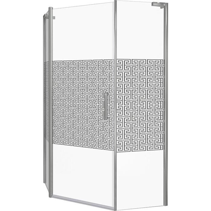 Душевой уголок Good Door Fantasy PNT 100х100 с поддоном, прозрачный рисуком Фантази, хром