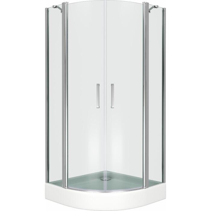 Душевой уголок Good Door Pandora R 90х90 с поддоном, прозрачный, хром комплектующие