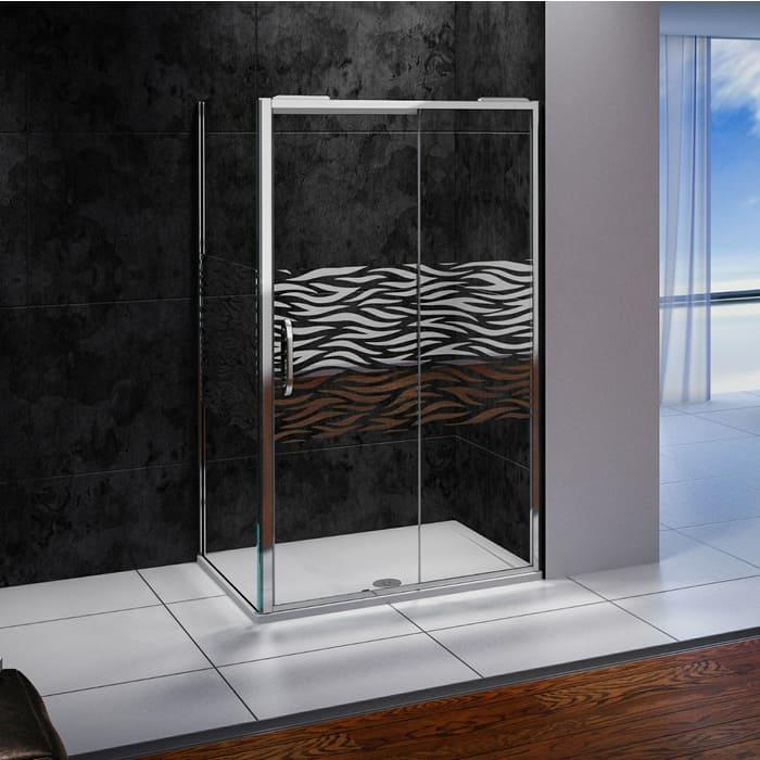 Душевой уголок Good Door Antares 110х80 с поддоном, прозрачный рисуком Волна, хром