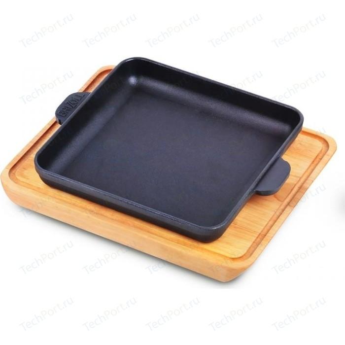 Сковорода квадратная с дощечкой Brizoll 18см Horeca (Н181825-Д)
