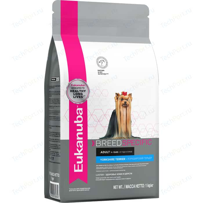 Сухой корм Eukanuba Adult Dog Breed Specific Yorkshire Terrier здоровье кожи и шерсти для собак породы йоркширский терьер 1кг