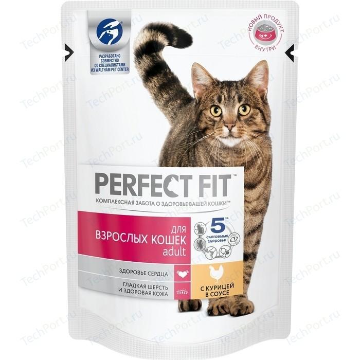 Паучи PERFECT FIT Adult с курицей в соусе для взрослых кошек 85г (10163731)
