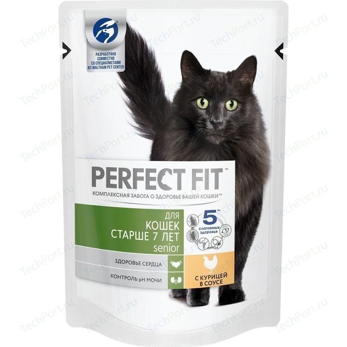 Паучи PERFECT FIT Senior с курицей в соусе для кошек старше 7лет 85г (10164480)