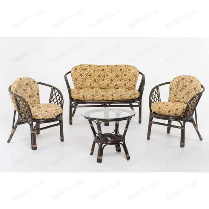 Комплект для отдыха Vinotti Багамы 01/16 tropica желтые подушки, темный коньяк