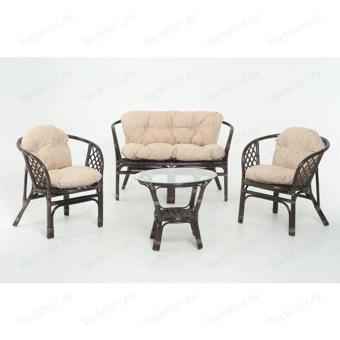 Комплект для отдыха Vinotti Багамы 01/16 tropica подушки рогожка, темный коньяк