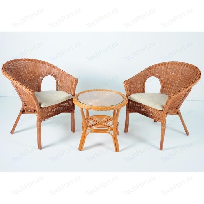 Комплект для отдыха Vinotti 02/08, 2 кресла+стол коньяк