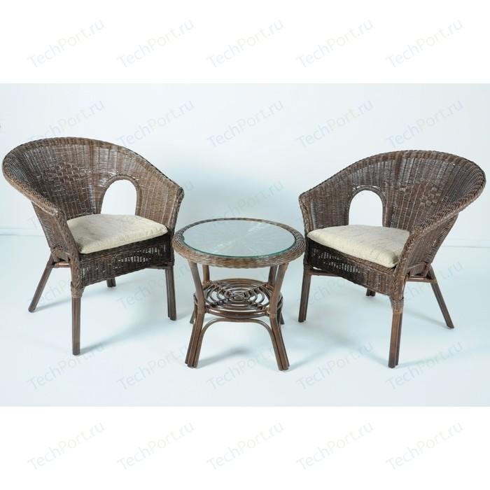 Комплект для отдыха Vinotti 02/08, 2 кресла+стол темный коньяк
