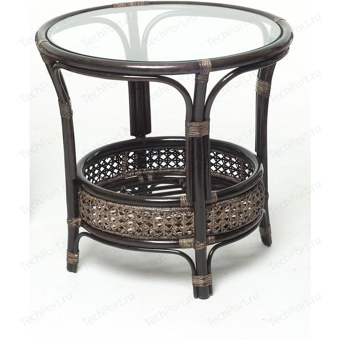 Стол со стеклом Vinotti 02/15A темный коньяк