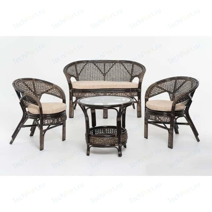 Комплект для отдыха Vinotti 02/15, 2 кресла+стол+диван темный коньяк
