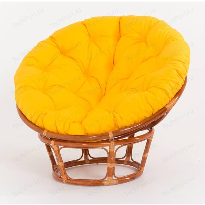 Кресло Vinotti Papasan 23/01 коньяк желтая подушка