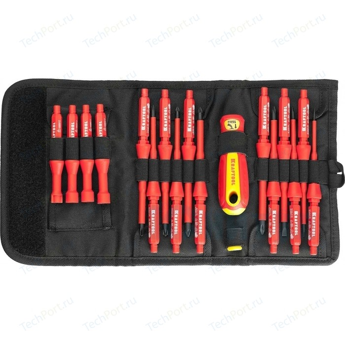 Набор отверток и инструментов Kraftool X-Drive Electro высоковольтных, до 1000 В, 18 предметов (220092-H18)