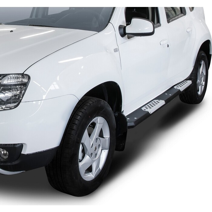 Алюминиевые пороги Rival для Nissan Terrano (2014-н.в.) / Renault Duster (2011-2015 2015-н.в.), R.4703.013