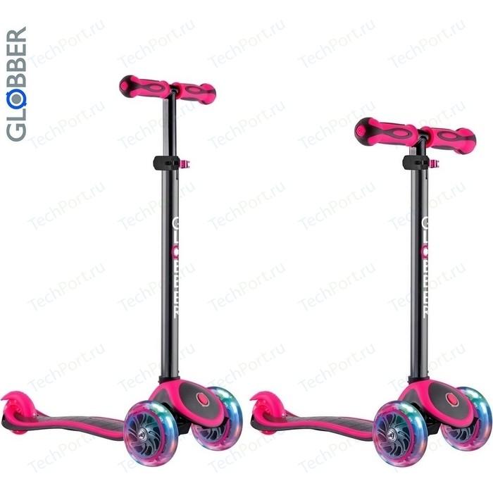 Самокат 3-х колесный Globber 442-132 Primo Plus Titanium с 3 светящимися колесами Neon Pink