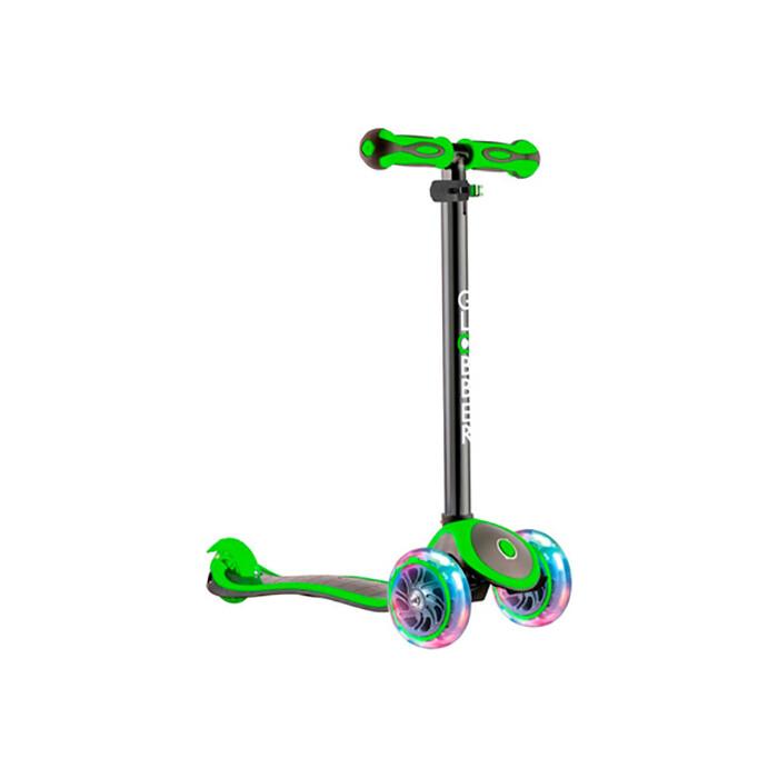 Самокат 3-х колесный Globber 442-136 Primo Plus Titanium с 3 светящимися колесами Neon Green