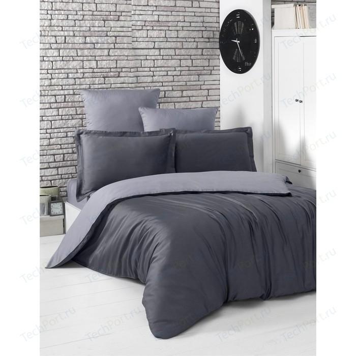 Комплект постельного белья Karna 1,5 сп, сатин, двухстороннее Loft темно-серый-серый (2983/CHAR006)