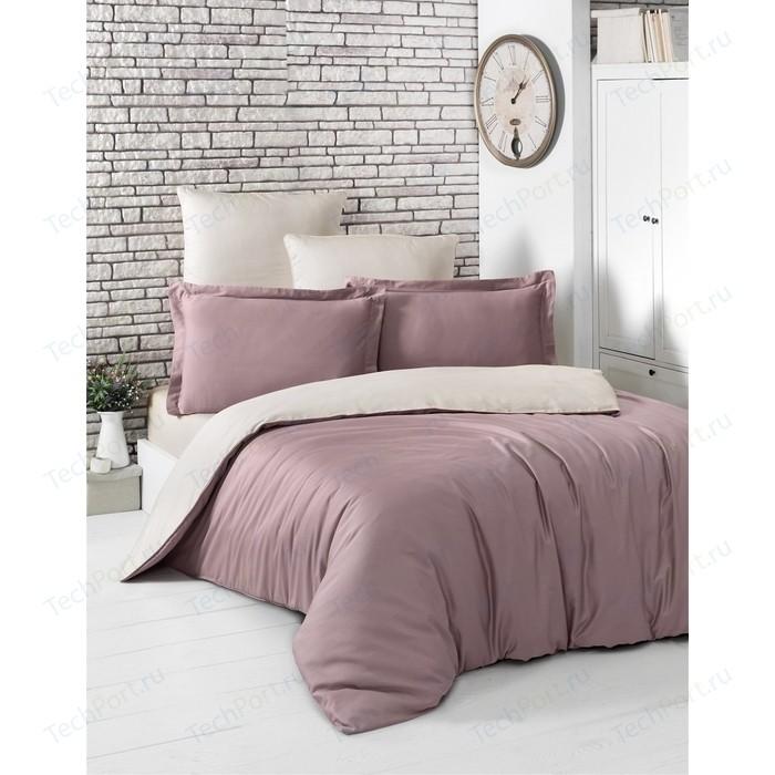 Комплект постельного белья Karna 1,5 сп, сатин, двухстороннее Loft грязно-розовый-бежевый (2983/CHAR001)