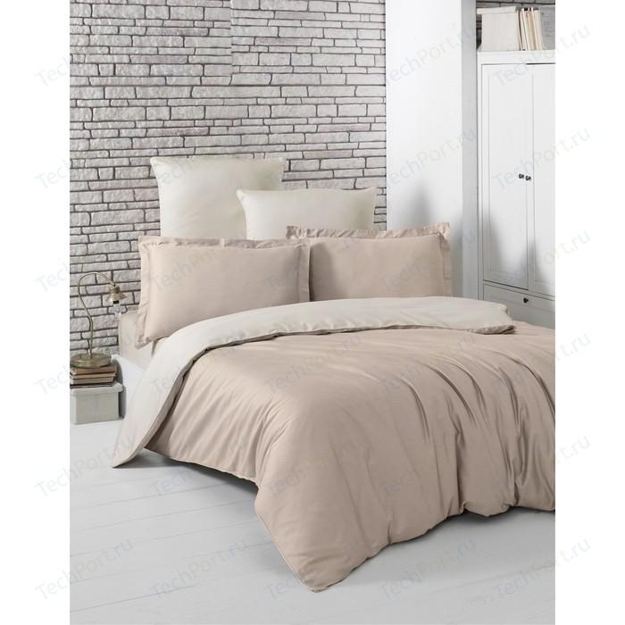 Комплект постельного белья Karna 1,5 сп, сатин, двухстороннее Loft кофейный-бежевый (2983/CHAR003)