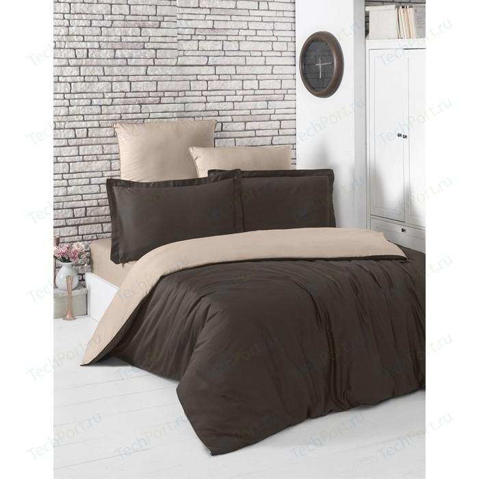 Комплект постельного белья Karna Евро, сатин, двухстороннее Loft шоколадный-кофейный (2984/CHAR010)