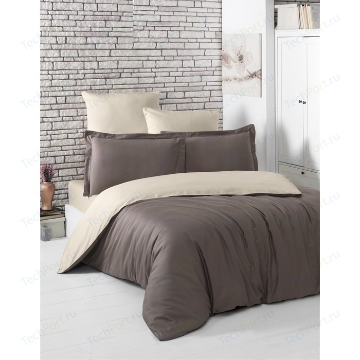 Комплект постельного белья Karna Евро, сатин, двухстороннее Loft коричневый-бежевый (2984/CHAR002)