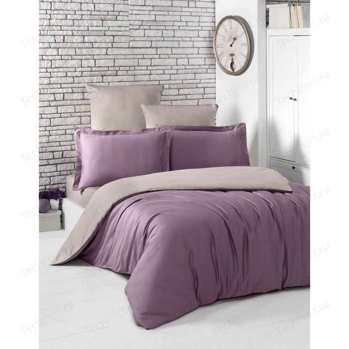 Комплект постельного белья Karna Евро, сатин, двухстороннее Loft светло-фиолетовый-капучино (2984/CHAR004)