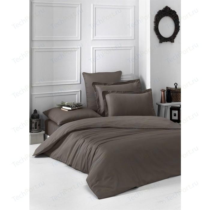 Комплект постельного белья Karna 1,5 сп, сатин, однотонный Loft коричневый (2985/CHAR004)