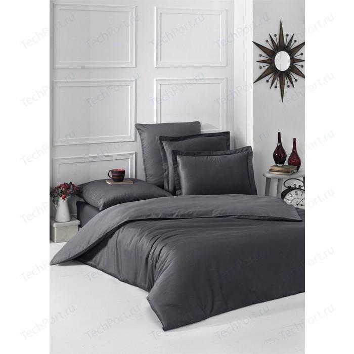 Комплект постельного белья Karna 1,5 сп, сатин, однотонный Loft темно-серый (2985/CHAR006)