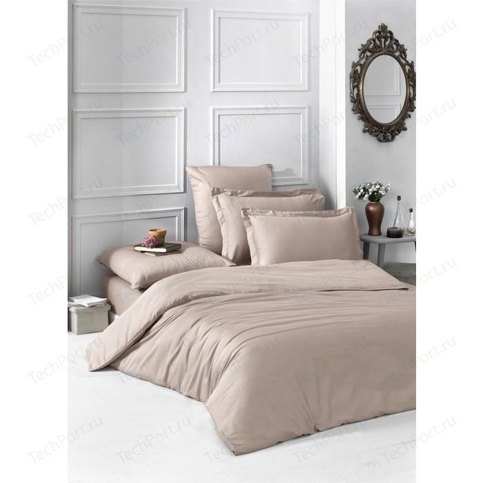 Комплект постельного белья Karna Евро, сатин, однотонный Loft кофейный (2986/CHAR007)