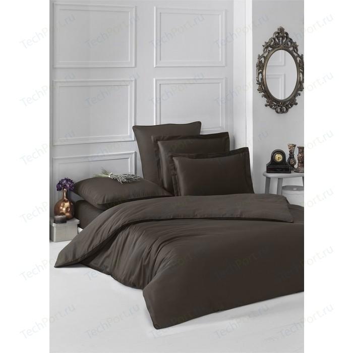 Комплект постельного белья Karna Евро, сатин, однотонный Loft шоколадный (2986/CHAR011)