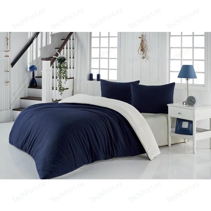 Комплект постельного белья Karna Евро, трикотаж, двухстороннее Sofa синий-кремовый (2988/CHAR013)