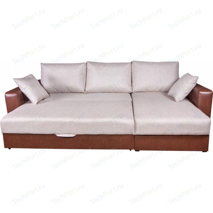Диван угловой Экомебель Гамбург рогожка бежевая диван экомебель гамбург п образный рогожка коричневая