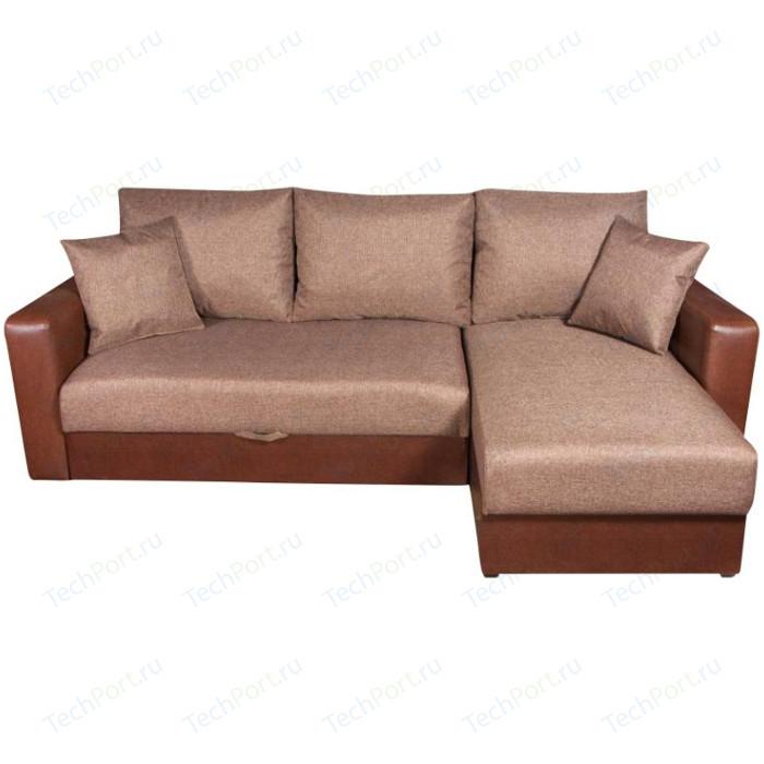 Диван угловой Экомебель Гамбург рогожка коричневая диван экомебель гамбург п образный рогожка коричневая