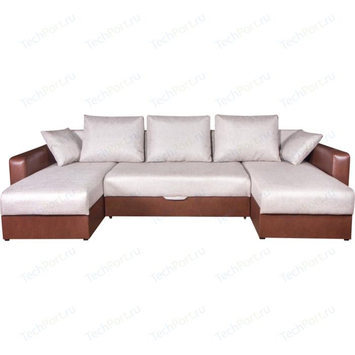 Диван Экомебель Гамбург П-образный рогожка бежевая диван экомебель гамбург п образный рогожка коричневая