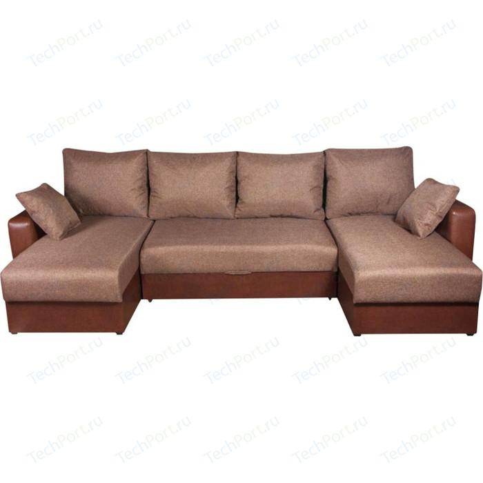 Диван Экомебель Гамбург П-образный рогожка коричневая диван экомебель гамбург п образный рогожка коричневая