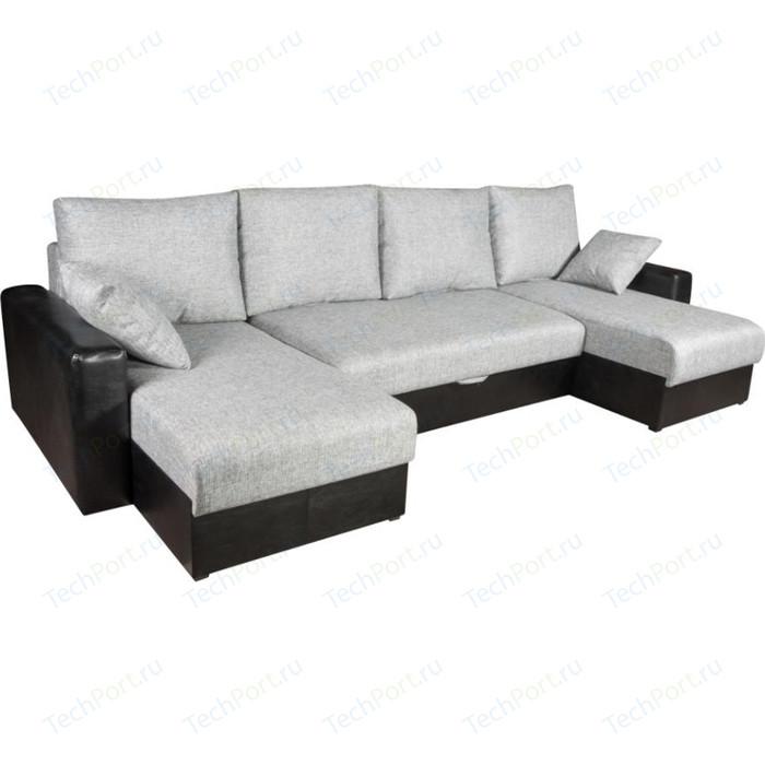 Диван Экомебель Гамбург П-образный рогожка серая диван экомебель гамбург п образный рогожка коричневая
