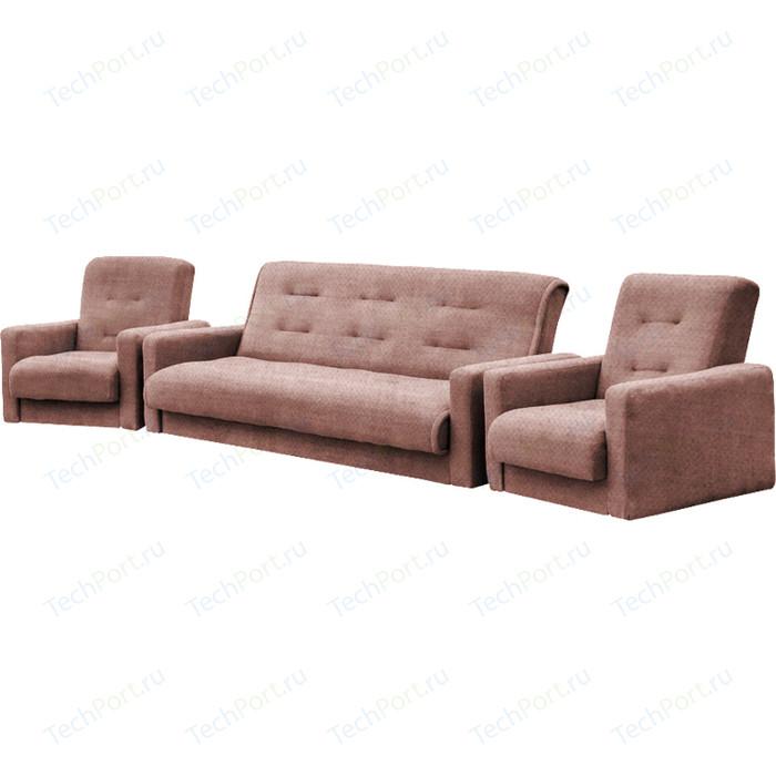 Комплект Экомебель Лондон-2 рогожка коричневая (диван + 2 кресла)