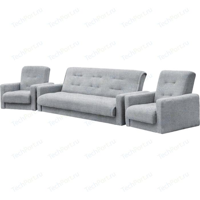 Комплект Экомебель Лондон-2 рогожка серая (диван + 2 кресла)