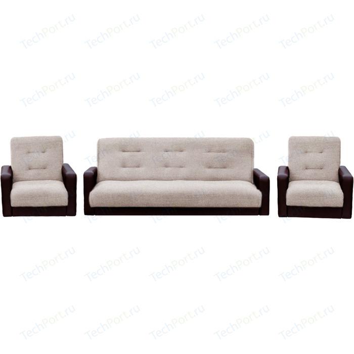 Комплект Экомебель Лондон рогожка бежевая (диван + 2 кресла)