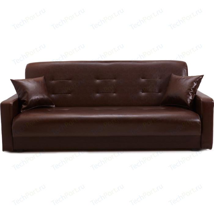 Диван Экомебель Аккорд темно-коричневый с бежевой отстрочкой