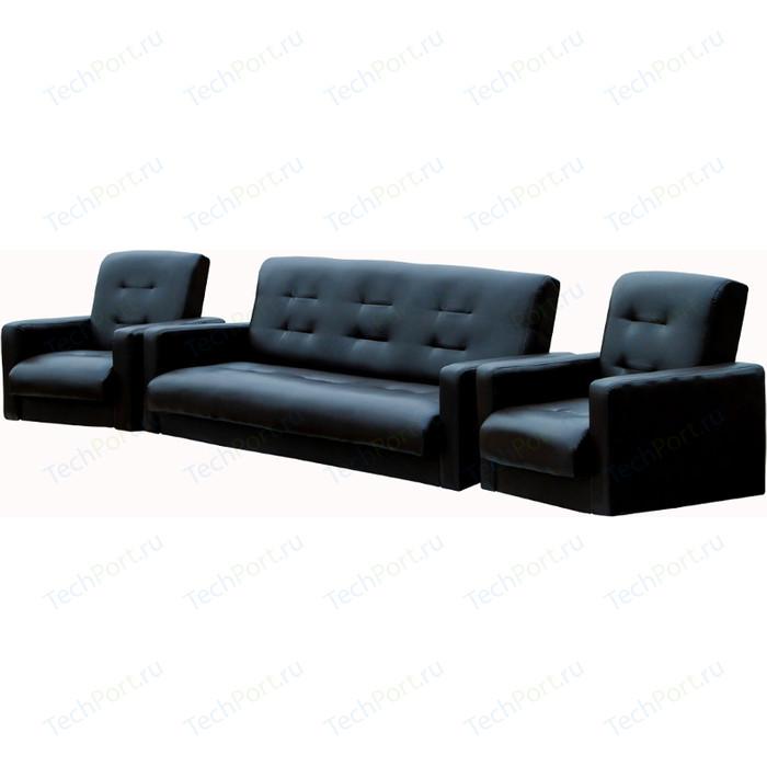 Комплект Экомебель Аккорд экокожа темно-коричневая (диван + 2 кресла)