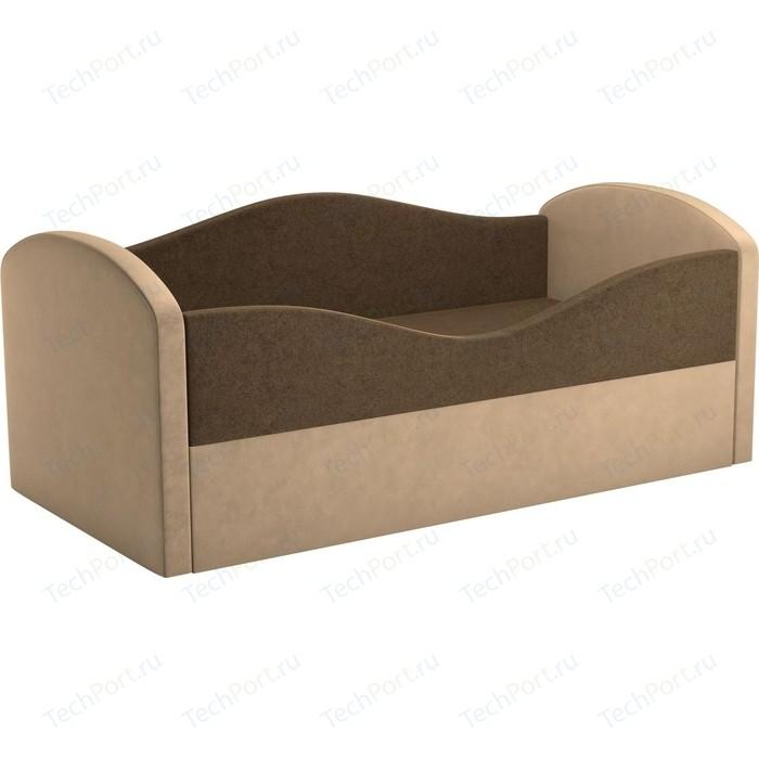Детская кровать АртМебель Сказка вельвет коричневый+бежевый