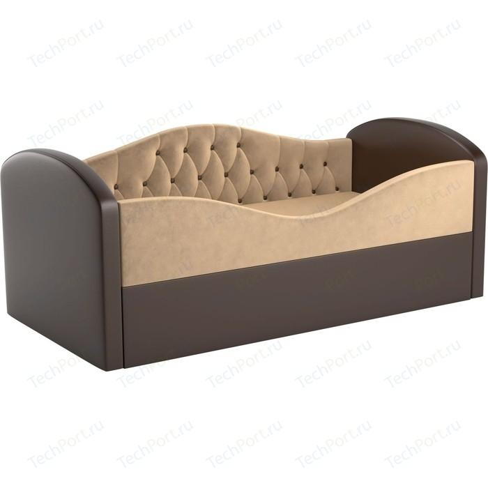 Детская кровать АртМебель Сказка Люкс вельвет бежевый+экокожа коричневый