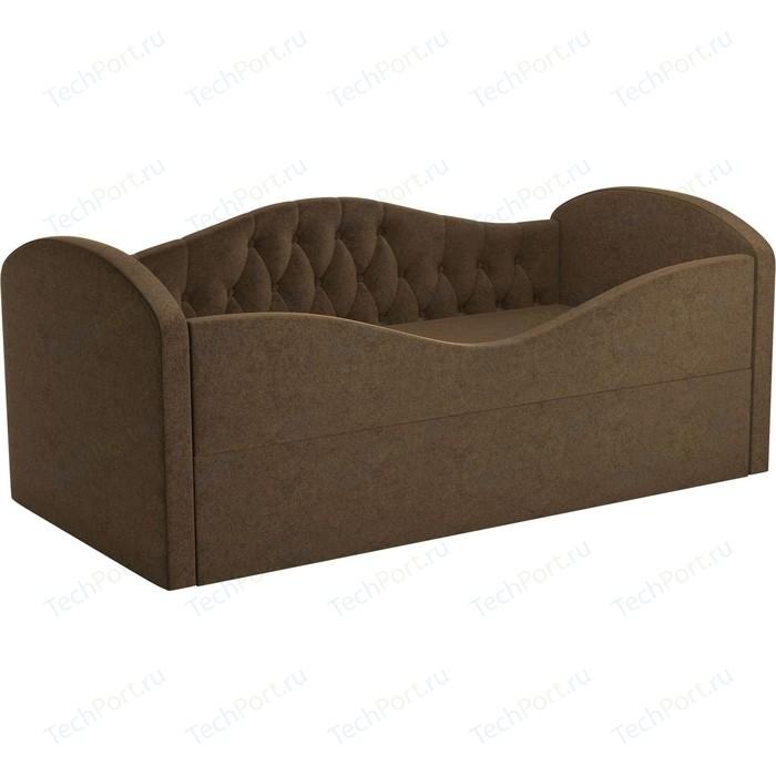 Детская кровать АртМебель Сказка Люкс вельвет коричневый