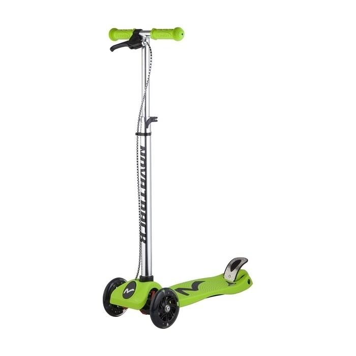 Самокат-кикборд NOVATRACK RainBow подростковый ручной тормоз свет.колеса max 60кг зеленый 12619