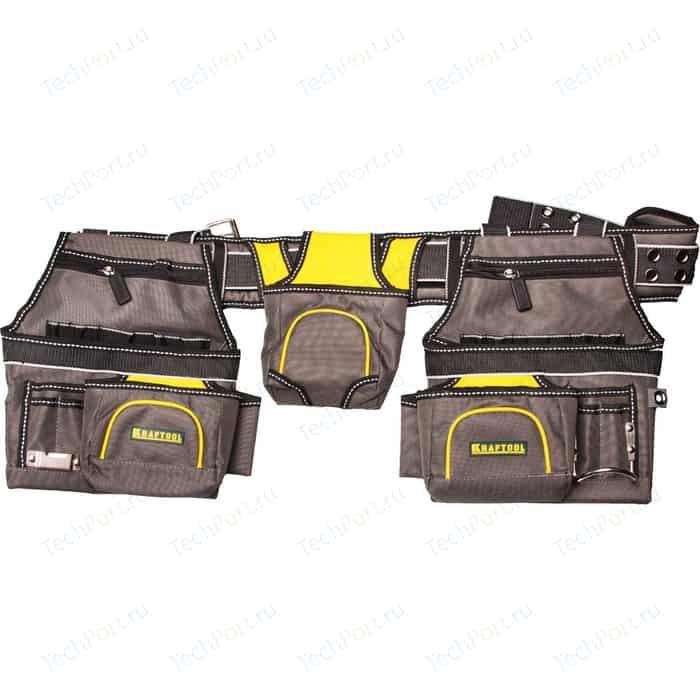 Пояс монтажника Kraftool Industrie 20 карманов, 2 петли для молотка и рулетки (38742)